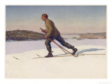 Swedish Ski-Runner at Bjorko Giclee Print by Gunnar Halstrom