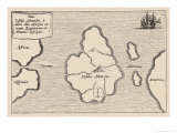 Map of Atlantis Showing Position Relative to Europe Africa and America Giclee Print by Athanasius Kircher