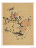 Young Woman and a White Bulldog in an Open Car Giclee Print by Cecil Aldin