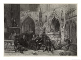 Puritans, Puritan Soldier Preaching to Fellow Soldiers in Church Giclee Print by W. Radclyffe