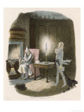Scrooge Receives a Visit from the Ghost of Jacob Marley His Former Business Partner Premium Giclee Print by John Leech