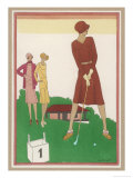 Ladies on a Golf Course Premium Giclee Print by  Berlinger