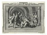 Caligula is Assassinated by the Praetorian Guard Premium Giclee Print by  Luyken
