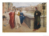 Dante Alighieri Italian Writer Meeting His Beloved Beatrice Portinari on the Lung'Arno Florence Premium Giclee Print by Henry Holiday