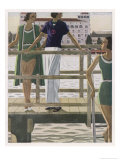 Women on a Jetty Wear Green Bathing Costumes with Black and White Trim Giclee Print by Pierre Mourgue