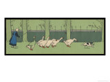 Goose Girl Wearing Clogs and Six Geese Led by a Dog in an Autumn Landscape Giclee Print by Cecil Aldin