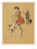 Young Woman in a Red Swimsuit with Her White Bulldog on the Beach Giclee Print by Cecil Aldin