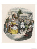 Mrs Fezziwig's Ball, Shown to Scrooge by the Ghost of Christmas Past Premium Giclee Print by John Leech