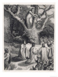 Druids Cut the Sacred Mistletoe Reproduction procédé giclée par Jeanron