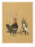 White Bulldog Looks up Enquiringly at a Rather Stern- Looking Turkey Cock Giclee Print by Cecil Aldin