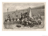 Chariot Racing in the Circus at Rome: a Spill at a Turn Giclee Print by H. Leutemann