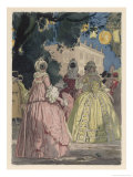 Ladies of Milano Masked for the Carnival Giclee Print by Auguste Leroux
