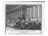 Catiline Plotting to Seize Power in Rome is Denounced in the Senate by Cicero Impression giclée par Augustyn Mirys