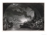 Terrified Citizens Shelter Beneath London Bridge as the Fire Rages Through the City Giclee Print by Harry Payne