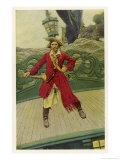 Captain Keitt on His Quarter-Deck Premium Giclee Print by Howard Pyle