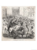 Horrified Crowd Gathers Round to See a Cholera Victim in France Giclee Print by Jules Pelcoq