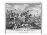 Publius Horatius Cocles and Two Companions Defend Tiber Bridge Giclee Print by Augustyn Mirys
