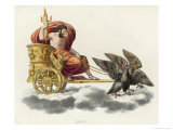 Zeus Carrying a Handful of Thunderbolts in His Golden Chariot Drawn by Eagles Giclee Print by P. Palagi