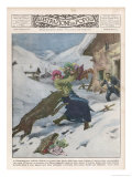 Peasants of Camporeggiano in Umbria Italy are Attacked by a Huge Wolf Giclee Print by Alfredo Ortelli
