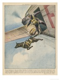 Finnish Parachutist Jumps with His Dog Giclee Print by Vittorio Pisani