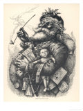 Pot-Bellied Father Christmas with Lots of Presents Giclee Print by Thomas Nast