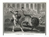 Ancient Rome Gladiators Fighting Lions in an Arena Giclee Print by  Patas