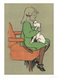 Little Girl is Licked Under the Chin by Her Affectionate White Puppy Giclee Print by Cecil Aldin