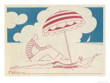 Couple on the Beach Giclee Print by  Moller
