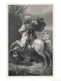 Saint George Slays the Dragon While a Damsel Watches Safely out of Harms Way Giclee Print by Harry Payne