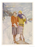 Two Girls in the Snow Giclee Print by Elizabeth Earnshaw
