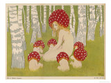 Creatures of the Woods in Their Toadstool Hats Giclee Print by Ed. Okun