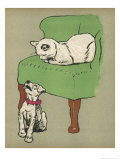 White Cat Relaxes on a Comfy Chair While a White Puppy Tries to Pull His Irritating Collar Off Giclee Print by Cecil Aldin
