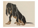 Painting in Black and Brown Colours of a Sitting Dachshund Gazing Giclee Print by L. Rohlwein