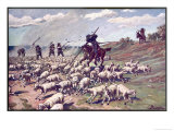 Don Quixote the Adventure with the Sheep Giclee Print by F. Panizza