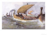 Viking Raiding Fleet Racing Across the North Sea Giclee Print by Albert Sebille