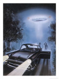 New Hampshire, Betty and Barney Hill Driving at Night See a UFO Reproduction proc&#233;d&#233; gicl&#233;e par Terry Hadler
