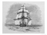 Hms Beagle Among Porpoises Charles Darwin&#39;s Research Ship Giclee Print by R.t. Pritchett