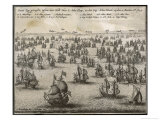 Battle of Portland (Three-Days Battle) 1st Anglo-Dutch War Giclee Print by Josse Hondius