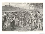 New England Factory Workers Leaving Their Workplace at Bell-Time Giclee Print by Winslow Homer