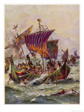Alfred's Galleys in Battle with Vikings Giclee Print by Harry Payne