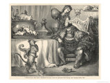 The Ogre Glares at Puss in Boots as He Bows and Scrapes Before Him Giclee Print by Gustave Doré