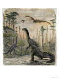 Dinosaurs of the Jurassic Period: a Stegosaurus with a Compsognathus in the Background Giclee Print by A. Jobin