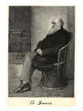 Charles Darwin English Naturalist Sitting in a Chair Reproduction procédé giclée par Thomas Johnson