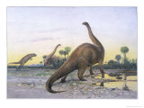 Brontosaurus Attacked by Allosaurus Giclee Print by Wilhelm Kuhnert