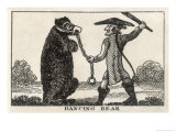 Man with a Long Pigtail Threatens His Chained Dancing Bear with a Club Giclee Print by W. Davidson