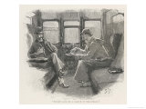 Silver Blaze Holmes and Watson in a Railway Compartment Reproduction giclée Premium par Sidney Paget