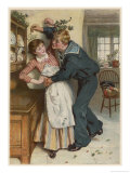 Naval Manoeuvres!, a Sailor and His Girl Under the Mistletoe Giclee Print by William Small