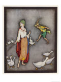 The Goose Girl Brings Her Geese into Line Giclee Print by Jennie Harbour