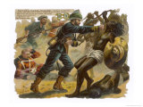 Royal Navy Captain A.R.Wilson Engages in Single Combat with Only the Hilt of His Sword Giclee Print by Harry Payne