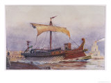 Warship of Imperial Rome is Rowed out of Harbour with Only a Light Sail Hoisted Giclee Print by Albert Sebille